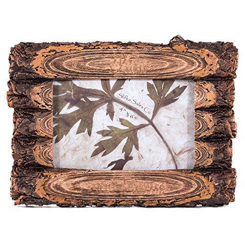 "Poly resin log look frame with glass insert and easel back will display vertically or horizontally and is 8"""" W and will hold a 4"""" x 6"""" photo"