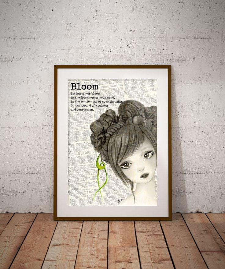 Bloom, Book page art, Digital download, Digital print, Teen girl Wall Decor, Printable art, Digital, Dictionary art, Vintage, Spring decor by DreamBigArtDesign on Etsy