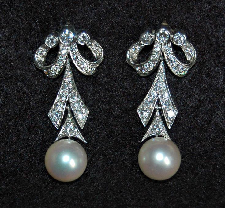 Vintage DIAMOND EARRINGS w/ PEARL DROP - 14K White Gold, Long Dangly (4Z11) #DANGLEEARRINGS