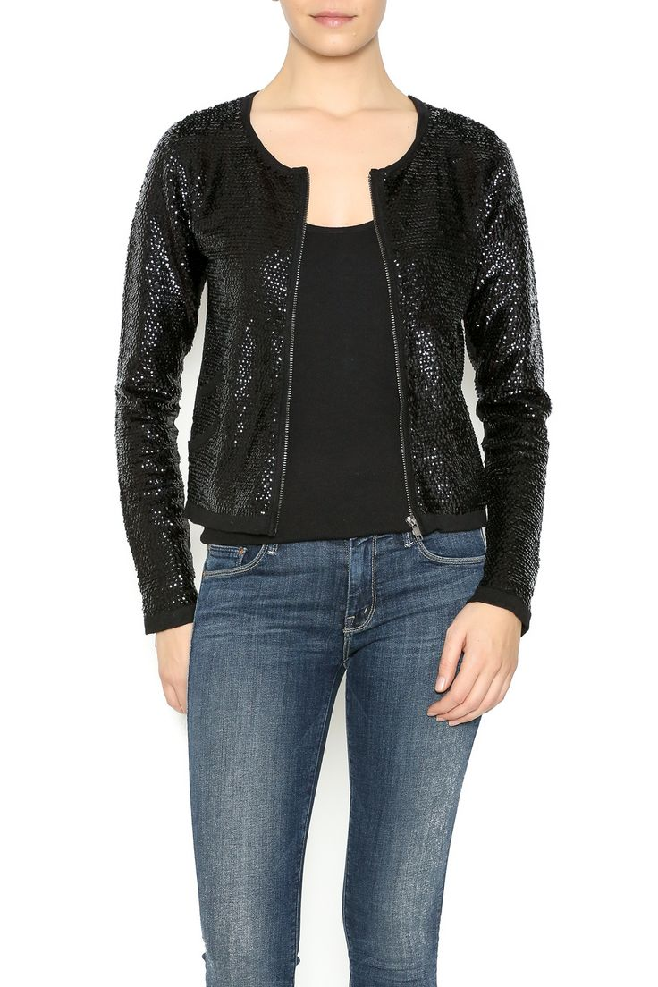 Featuring a knit zip up cardigan jacket with black sequins and zipper detailing at the wrists.   Sequin Cardigan Jacket by Olivaceous. Clothing - Sweaters - Cardigans Michigan