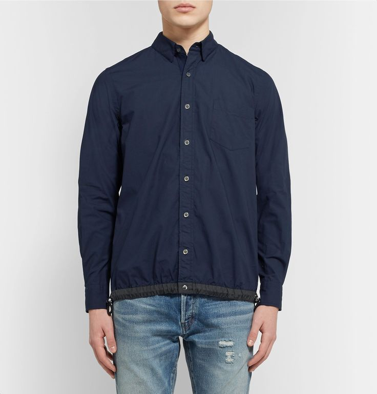 <a href='http://www.mrporter.com/mens/Designers/Sacai'>Sacai</a> sets its pieces apart with thoughtful, eclectic elements, and this overshirt is kitted with a sporty drawstring hem. Cut slim, it has been made in Japan from crisp cotton-blend poplin and detailed with a crisp collar and tonal pearlescent buttons. Wear it to give casual looks a snappy finish.