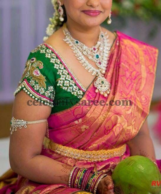 Bride in Glitter Blouse in Green