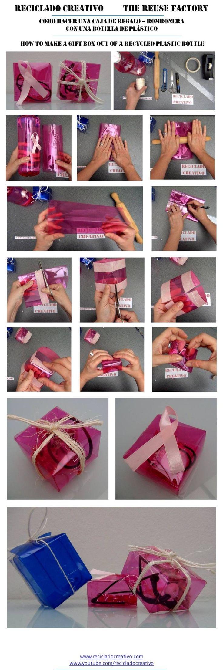 Cómo hacer una caja de regalo cuadrada reciclando botellas de plástico  https://youtu.be/3EhLZvzw05w?list=PLemyWmGdwuSO4JfUYq5bWU1bZYqGu7RQF