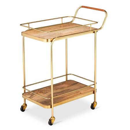 Metal, Wood, and Leather Bar Cart - Gold - Threshold™ : Target