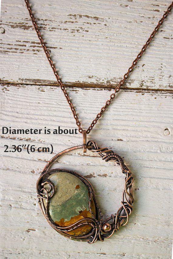 Green Malachite Copper Necklace For Women Wire Wrapped Stones