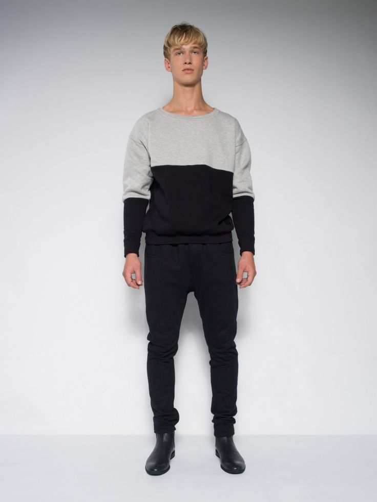 MALE MONOCHROMATIC SWEATSHIRT Men's Street Style Pour Homme