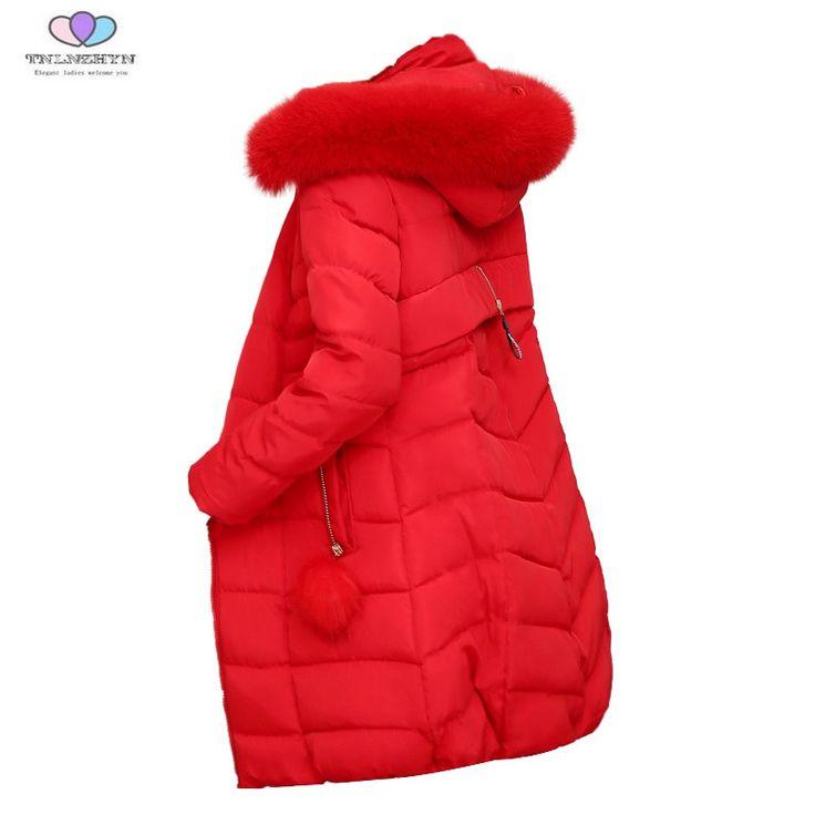 2017 New Winter Women Parka Coat Fur Collar Hooded Slim Down Cotton Jacket Female Thick Warm Coat Outerwear TNLNZHYN E203 #Affiliate