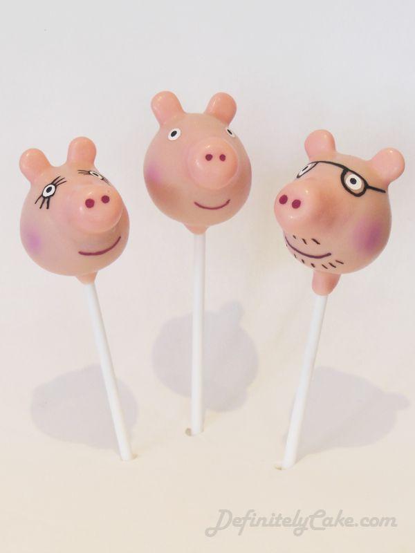 Peppa Pig Cake Pops. Peppa, Mummy and Daddy Pig.