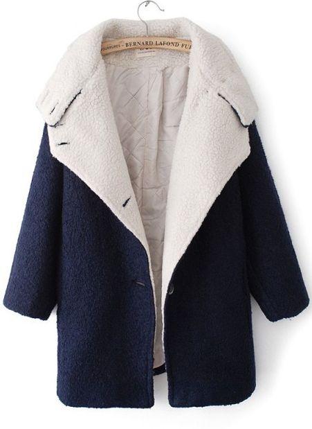 Abrigo de lana solapa manga larga muriciélago-Marino EUR€46.21
