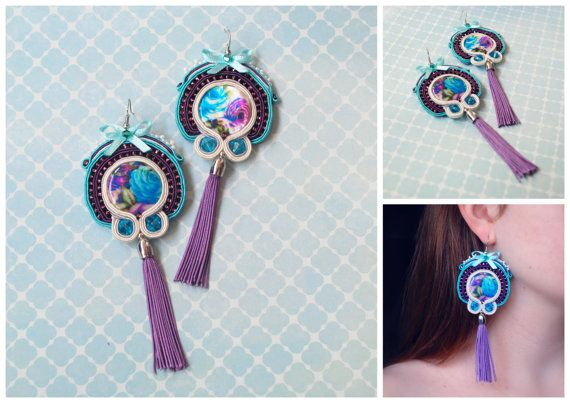 Roses soutache earrings by AmarylisHandCraft on Etsy