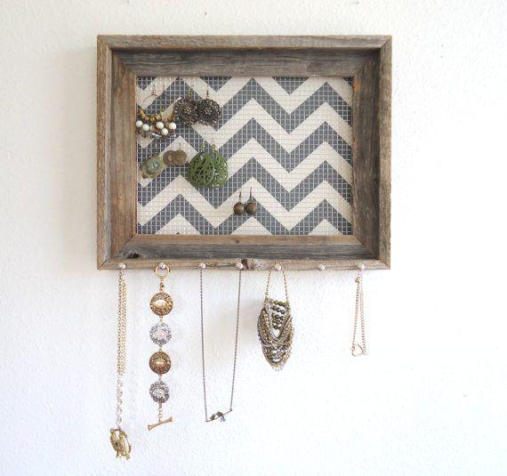 Distressed Jewelry Holder- Organizer Barnwood Grey Chevron Frame Display Silver Hooks-