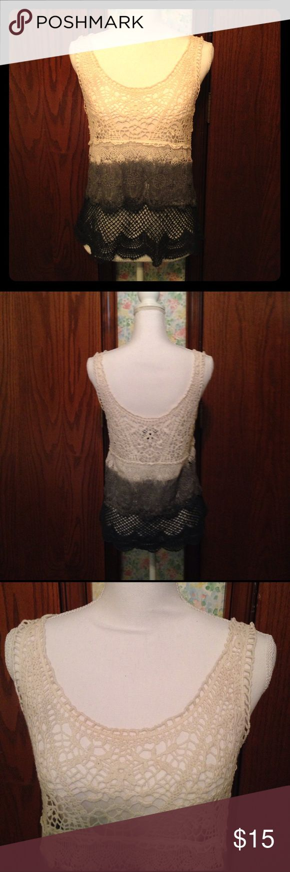 American Eagle Outfitters Crochet Top Crochet Tank Top with ruffled look.  Recommend to hand wash in cold water and dry flat. Excellent condition. American Eagle Outfitters Tops Tank Tops