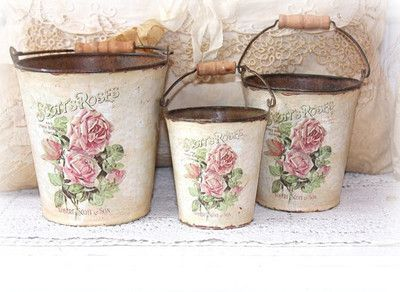 decoupaged tin pales with handles