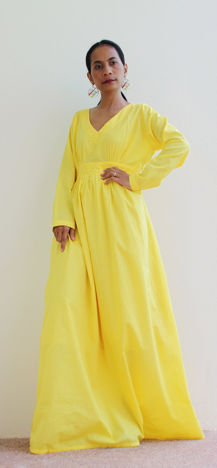 1109854305b Maxi Dress - Yellow Long Sleeve dress : Feel Good Collection | My ...
