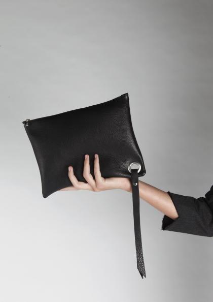 zwart leer black leather tote clutch   SPRDLX.NL leren tassen & shoppers
