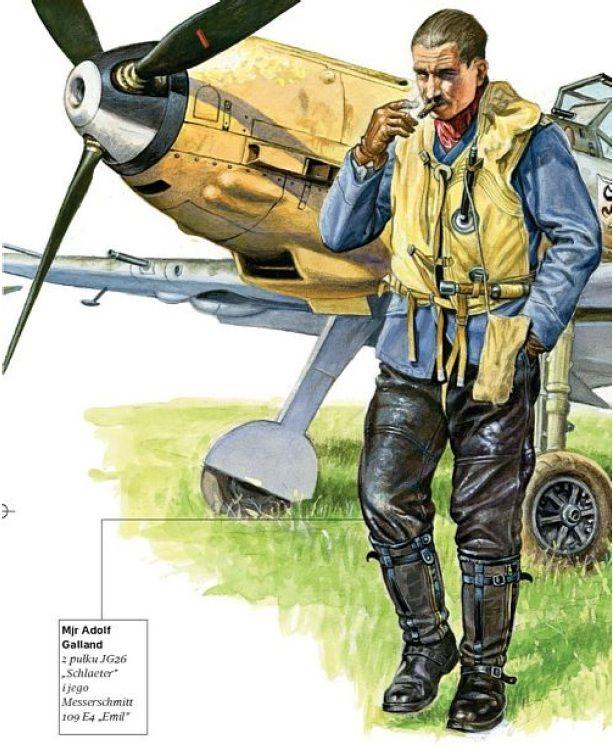 """LUFTWAFFE - Major Adolf Galland, Jagdgeschwader 26 """"Schlaeter"""", e il suo Messerschmitt Bf 109 E4"""
