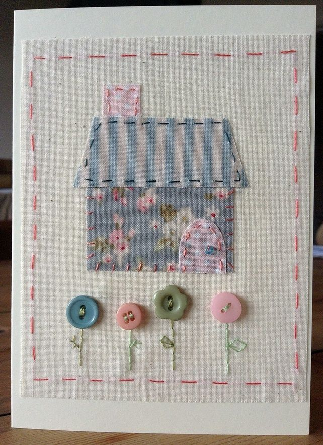 Little Stitched cottage card £3.00