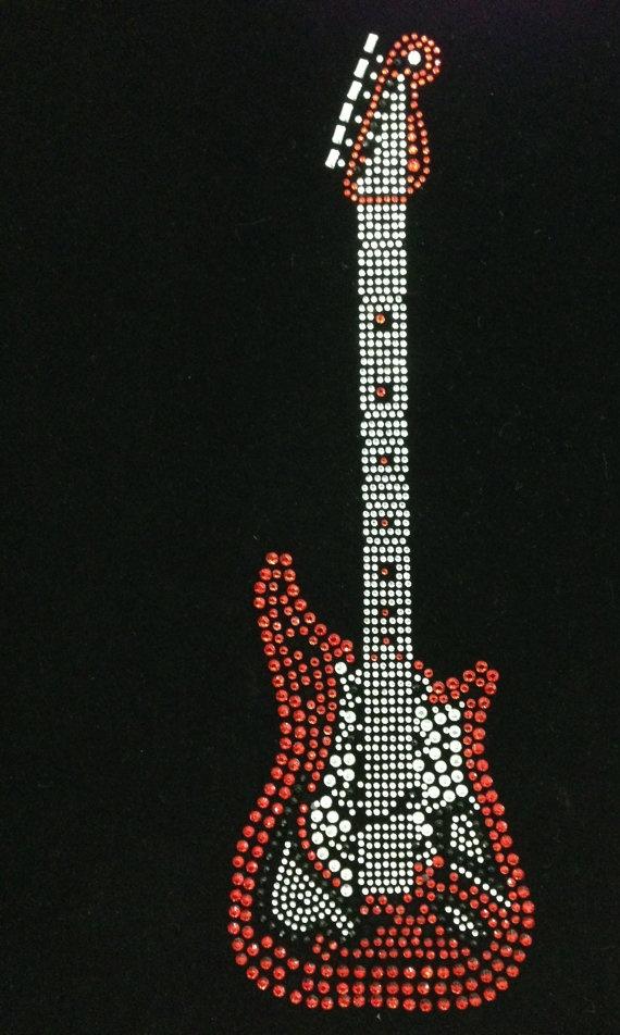 Guitar White Blue Red Yellow Rhinestone Transfer Design Iron On Hot Fix Heat Transfer Motif Bling Appliqué - DIY