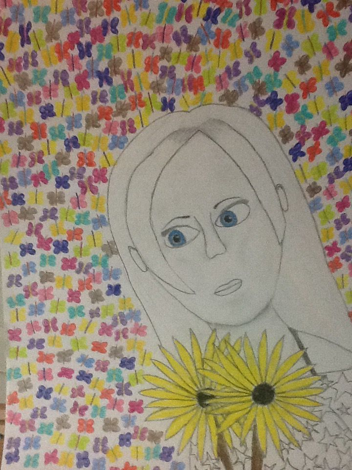 I really wanted to draw something so I decided to create a selfie and use that to create a picture. It was originally going to be black and white with exception of the eyes but then I decided to add tons of butterflies to the picture. hope you like it. I spent a lot of my time making it