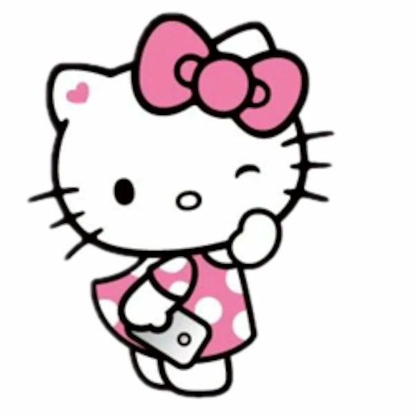 background, blue, and hello kitty image