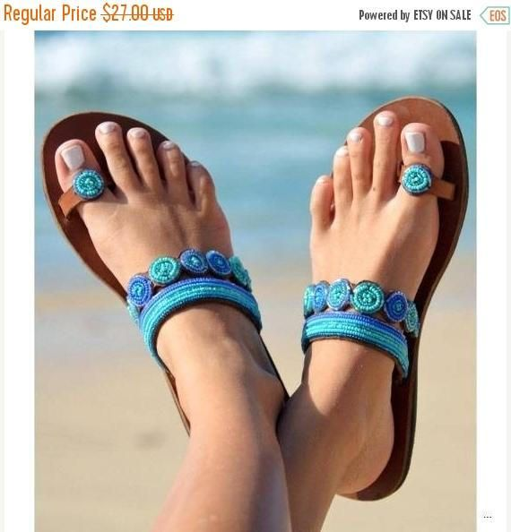 LEATHER SANDALS, Greek Sandals, Women Sandals, African Sandals, Beaded Sandals, Cute Sandals, Masai sandals, Bohemian Sandals, Summer sandals, Handmade Sandals. ALL SIZES AVAILABLE. The above Beautiful sandals have two separate bead designs. They are made of Sky Blue beads and the