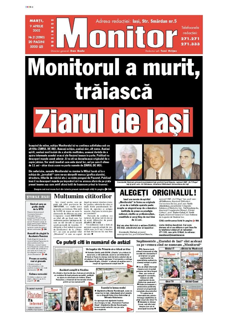"""9 04 2002, Momentul """"Monitorul a murit - Traiasca Ziarul de Iasi"""""""