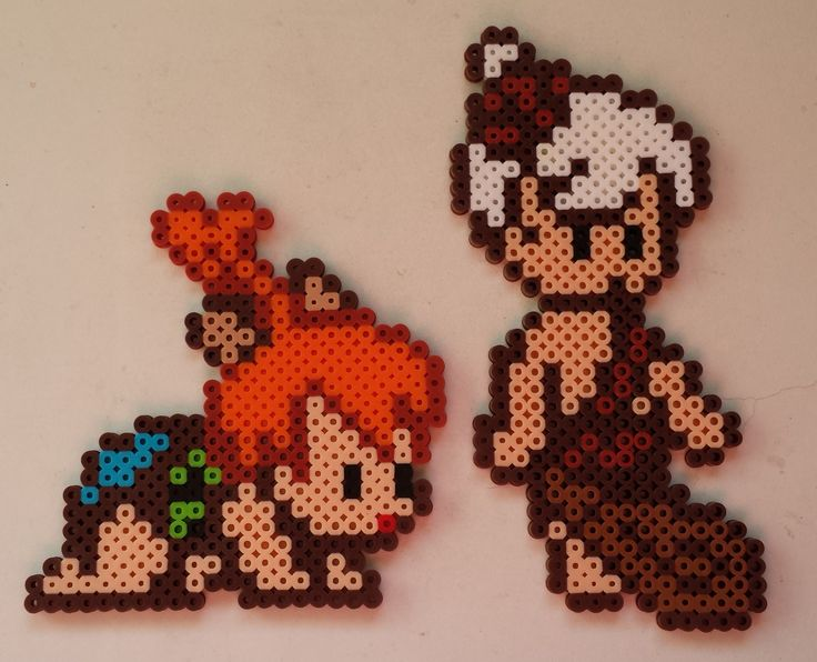 The Flintstones: Pebbles and Bam-Bam perler beads by Joanne Schiavoni