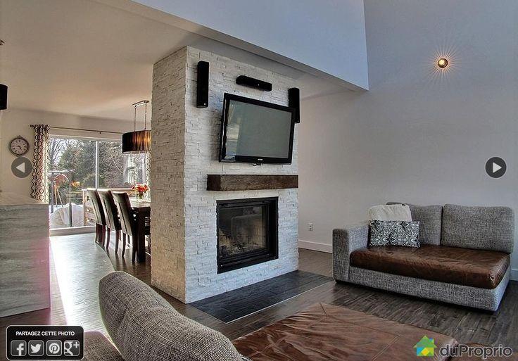 Salon Et Foyer : Salle famille idée de mur avec foyer sallon et