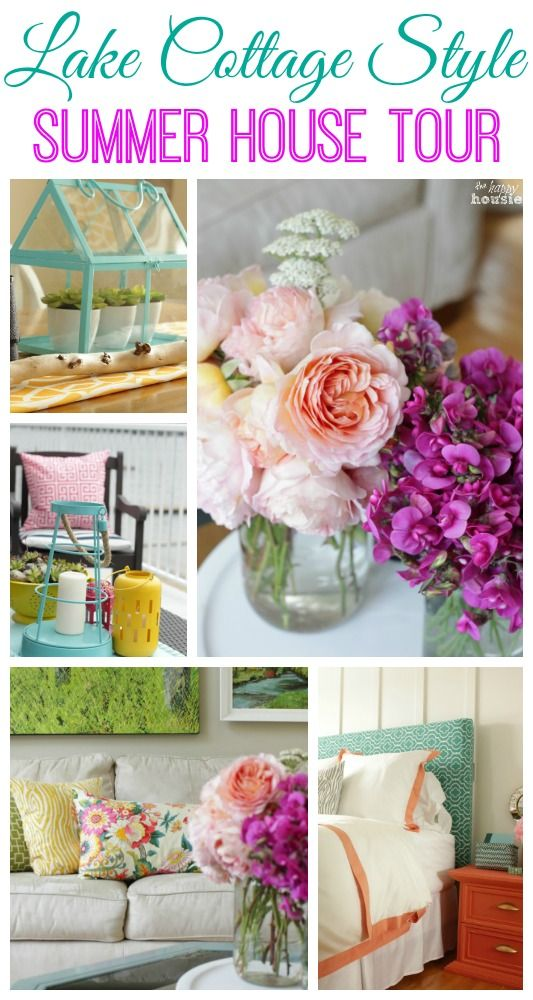 Come and tour a lake cottage style home - lots of thrifty ideas for decorating and easy DIY projects!!  Visit The Happy Housie