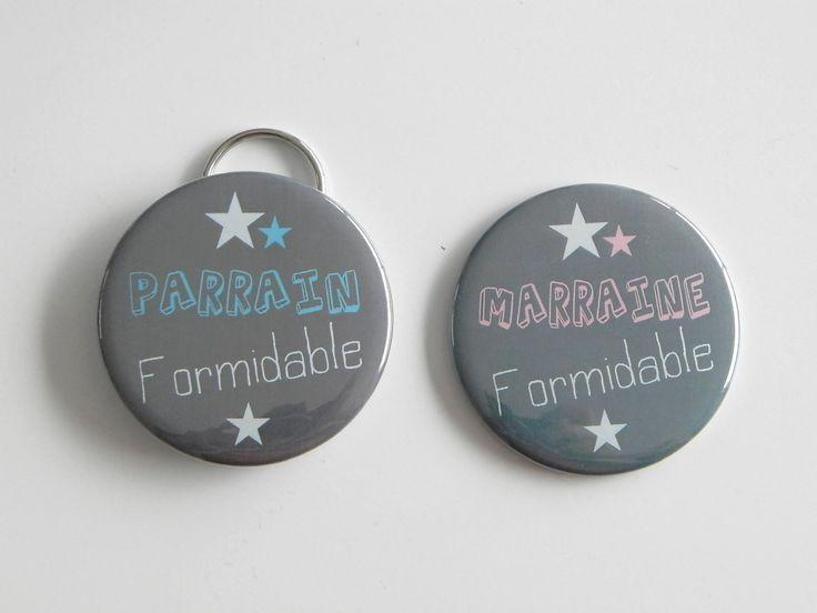 SPECIAL Parrain et Marraine Formidable Rose et Bleu - Lot de 1 Miroir de poche 56mm + 1 Porte clé décapsuleur