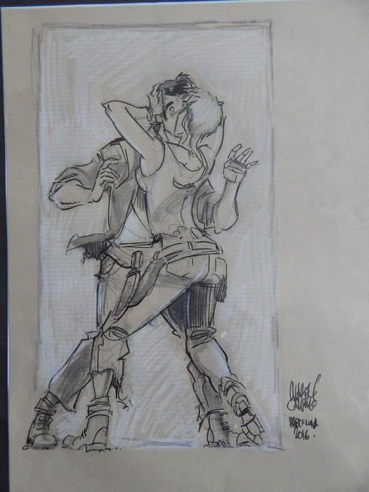 Originele tekening van Suske en Wiske van de mooie reeks Amoras. Getekend en gesigneerd door  Charel Cambré, Barcelona in 2016. In inkt en potlood.   Formaat tekening 21 x 28 cm. Nieuwstaat