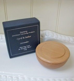 Cryil R Salter Luxury Lavender Shaving Soap In A Wooden Bowl