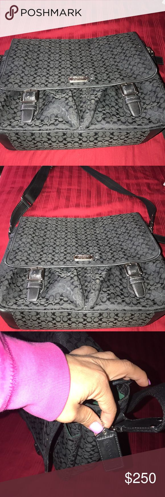 Authentic Coach Messenger Bag Authentic Coach messenger bag. It has a lot of room I've only used it a few times for school. This bag can fit a Mac Laptop and many more. It has two small pockets in front.. Coach Bags