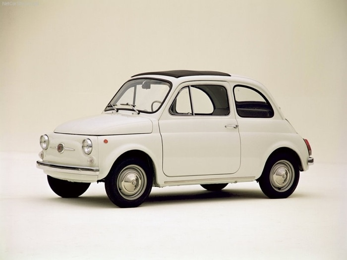 Fiat Nuova 500, by designer Dante Giacosa, 1957. Special models were called K (or Giardiniera), F (or Berlina), R (or Rinnovata) and L (Lusso -- my favourite). Some models had suicide doors. Abitare.it