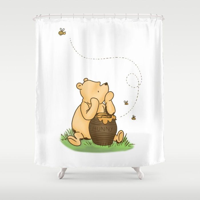 Buy Classic Pooh With Honey No Background Shower Curtain By Kltj11 Worldwide Shipping Available At Society6 Com Just One Of Mi Pooh Curtains Shower Curtain