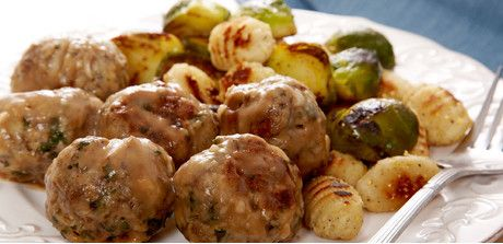 Irish Meatballs with Gnocchi and Brussels Sprouts