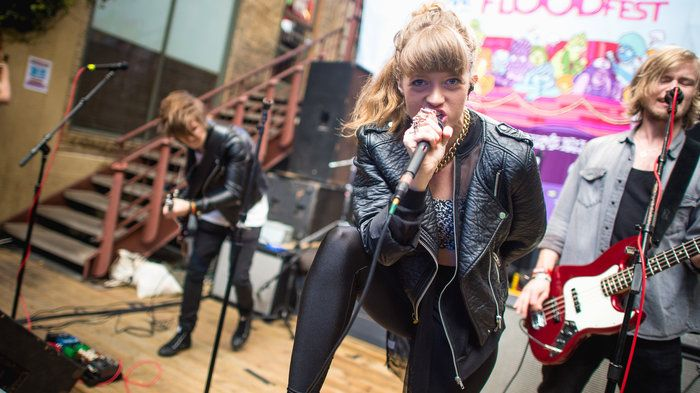 Swedish rock band Indevotion performs at Cedar Street Courtyard in Austin during South by Southwest 2015.