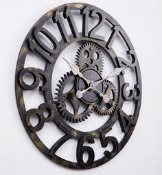 58cm oversized large decorative vintage retro art luxury gears wall clock US $59.00