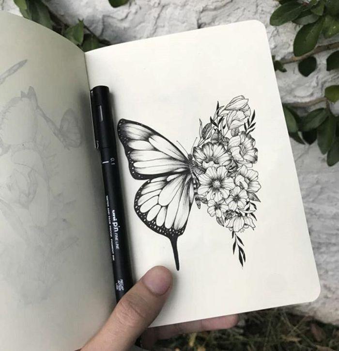 Man Tattoo Idee, das schönste Gürteltier für einen modernen Mann, Schmetterling mit …
