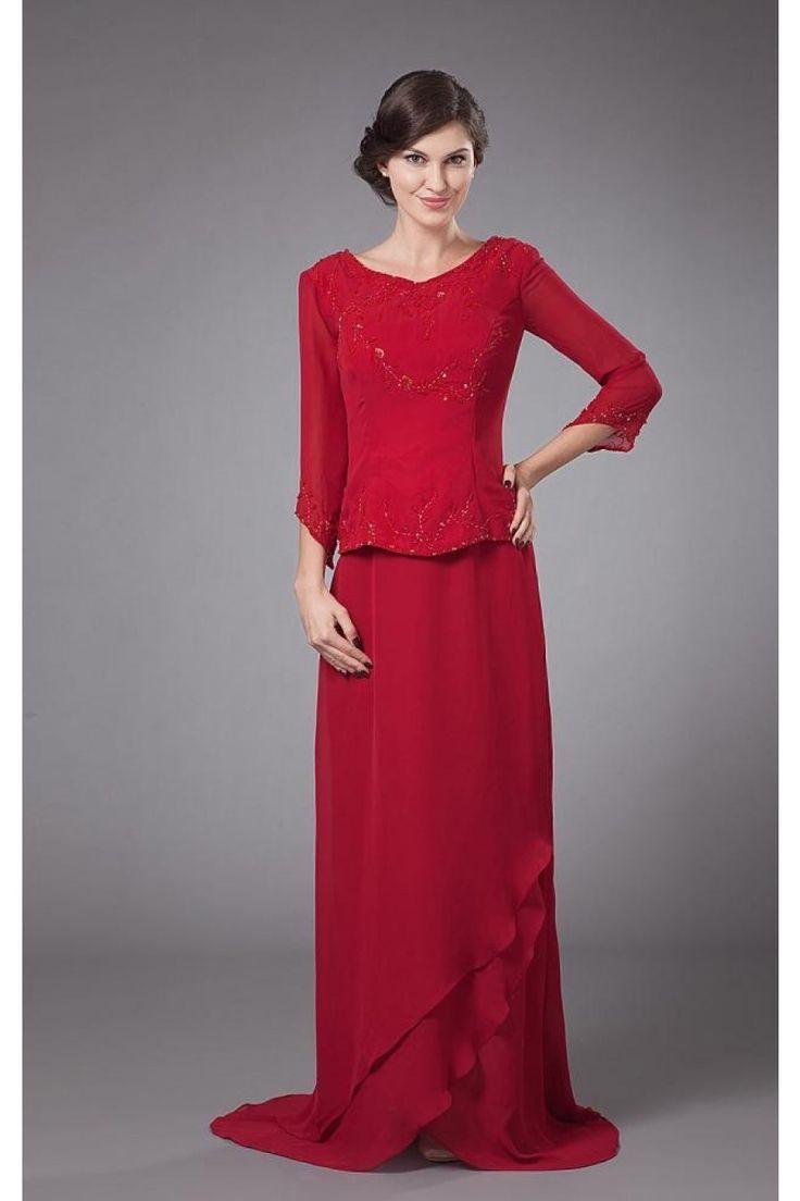 Rot V Ausschnitt Chiffon Langes Brautmutterkleid Hochzeitspartykleid $229.99 Brautmutterkleider Lang