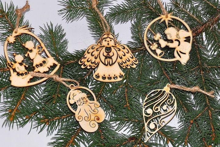 Azurowa Eko Bombka Na Choinke Aniolki Banka Dekor 7647198855 Oficjalne Archiwum Allegro Christmas Ornaments Christmas Balls Christmas Cards