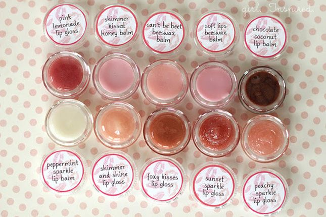 DIY Lip Gloss: Each of these balms uses the same basic recipe. But this post has a great guide to different flavors and colors you can mix in. It's basically a toolkit for creating your own recipes. (via girl. Inspired) via Brit + Co.