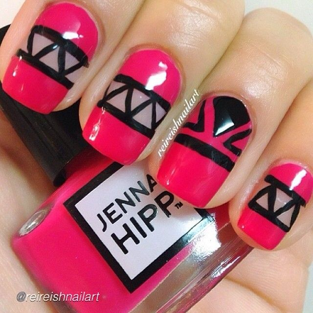 47 best cutout nail designs images on pinterest make up blue hot pink and black triangle shape cut out nail design prinsesfo Gallery