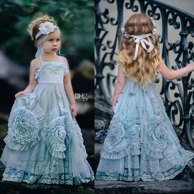 $50.26 Light Blue Vintage Flower Girl Dress Little Princess Dress Little Girls Easter Dresses Little Girls Outfits