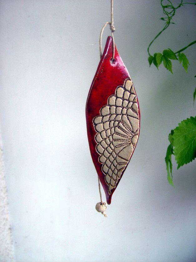 Windspiele - ♥ROT mit Muster ♥ Windspiel aus Keramik - ein Designerstück von beckkeramik bei DaWanda