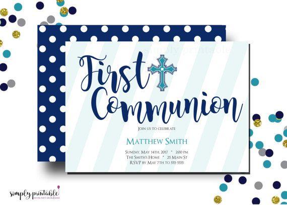 Boys Communion Invitation 1st Communion Invite by simplyprintable