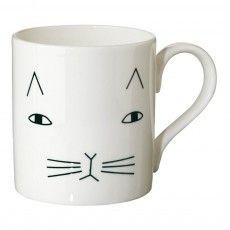 Keramiktasse Katze  Weiß