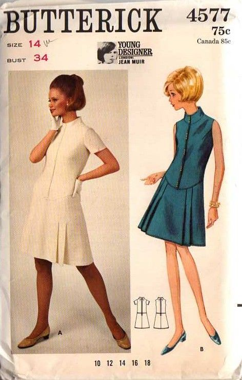 60s Designer Jean Muir mod dress with scooped dropped waistline in front and a pleated short skirt!