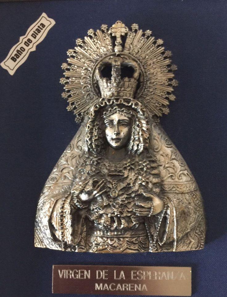 RARE VIRGIN OF HOPE - VIRGEN DE LA ESPERANZA MACARENA SILVER-PLATED PLAQUE