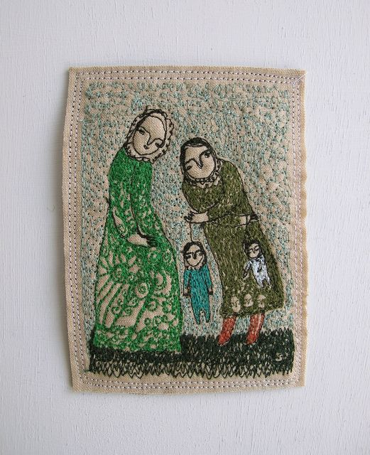 Cathy Cullis. 'Telling stories' embroidery artwork. January 2012